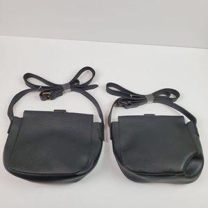 Saddle Faux Leather Black Gold & Silver Hardware